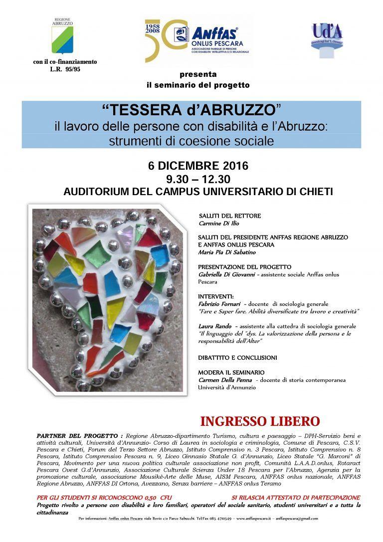 Pescara, al via 'Tessera d'Abruzzo': i mosaici dei ragazzi dell'Anffas