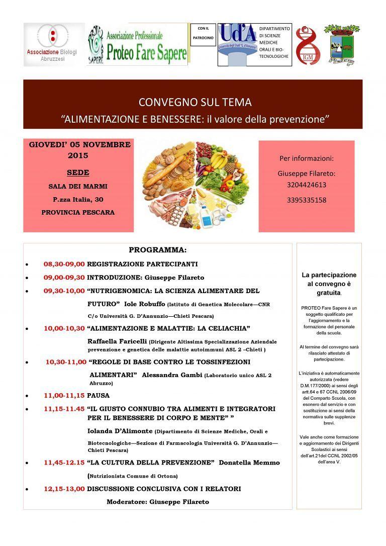 Pescara, la salute inizia a tavola: il convegno su alimentazione e prevenzione