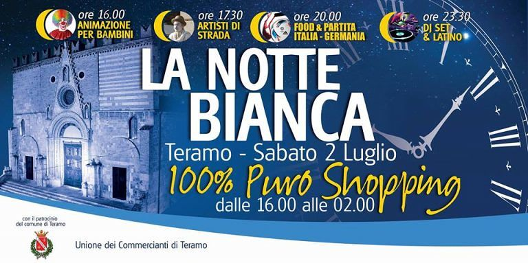 Teramo, sabato Notte Bianca tra saldi, Italia-Germania e latino
