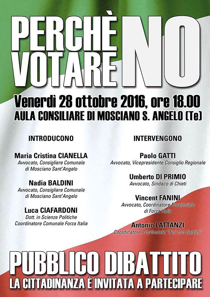 Mosciano, perché votare No: incontro nell'aula consiliare