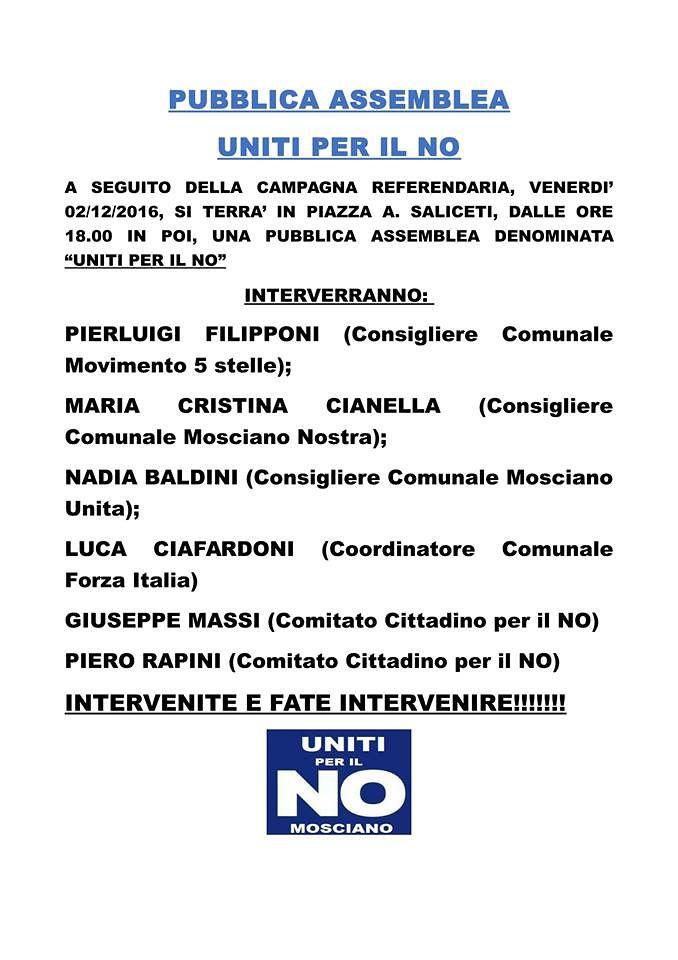 Mosciano, opposizione e Comitato in piazza per il No