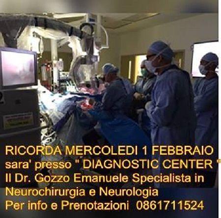 Neurochirurgia, il Dottor Emanuele Gozzo al Diagnostic Center – mercoledì 1 febbraio| Martinsicuro