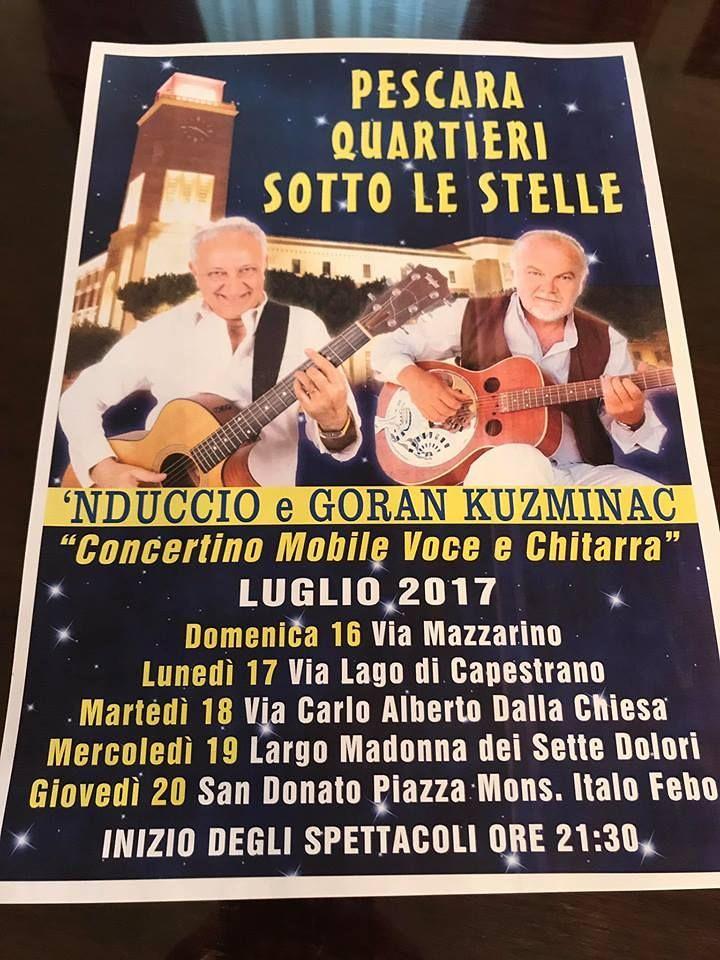 Pescara, musica itinerante con 'Quartieri sotto le stelle'