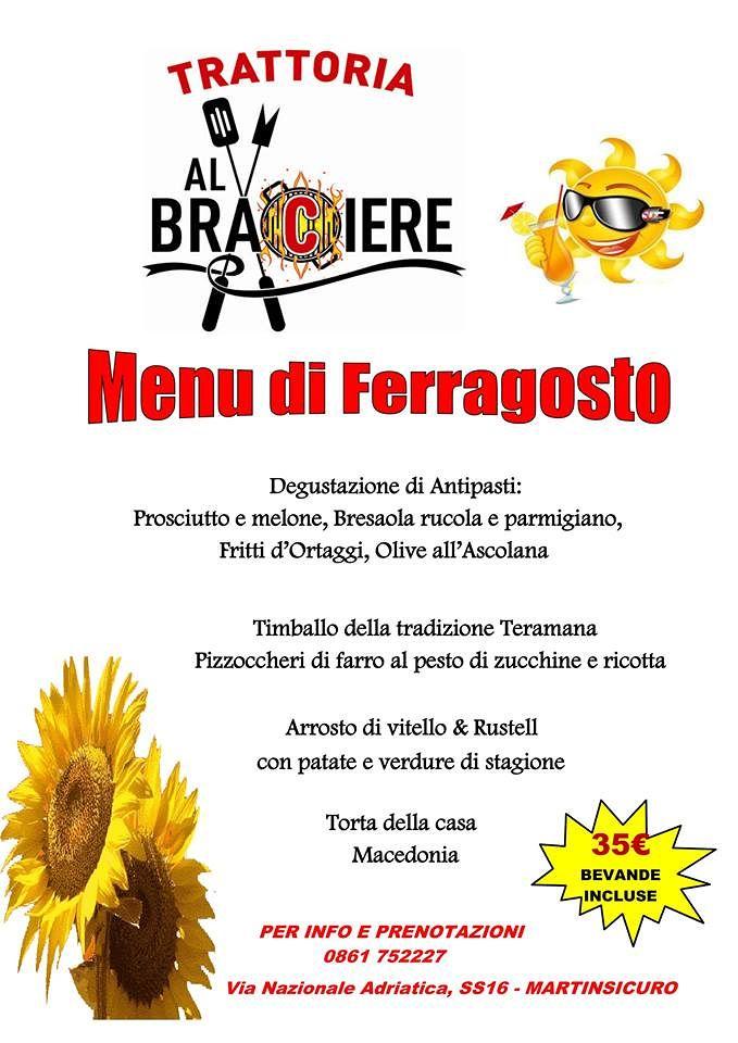 Trattoria Al Braciere: Menù di Ferragosto delizioso| Martinsicuro