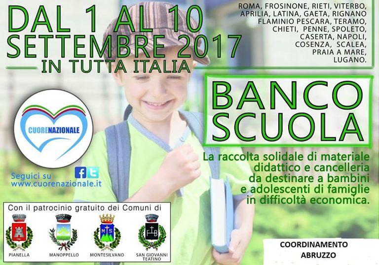 """Montesilvano, torna """"Banco Scuola"""": iniziativa per la raccolta di materiale didattico"""