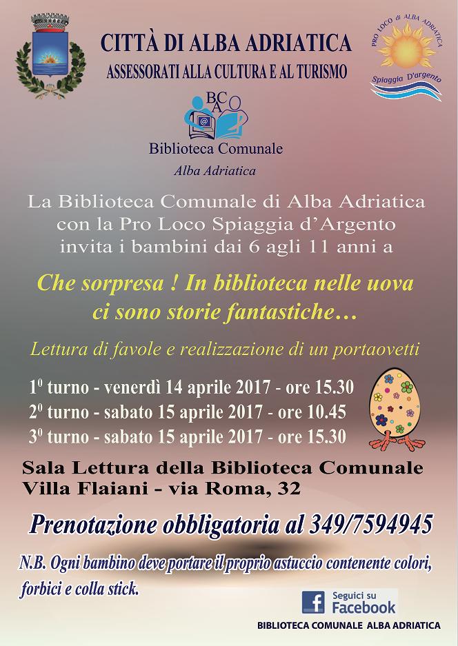 Alba Adriatica, le iniziative in biblioteca nella settimana di Pasqua