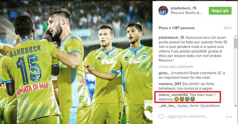 Bahebeck-Verratti: sfida (al peggiore) italiano-francese su Instagram