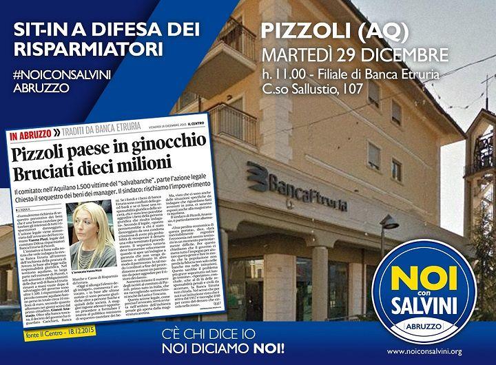 Pizzoli, previsto sit-in di Noi con Salvini davanti Banca Etruria