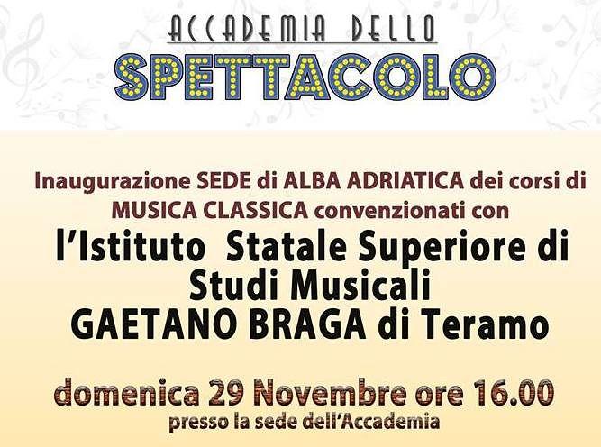 Istituto Braga: ad Alba Adriatica una sede per i corsi di musica classica