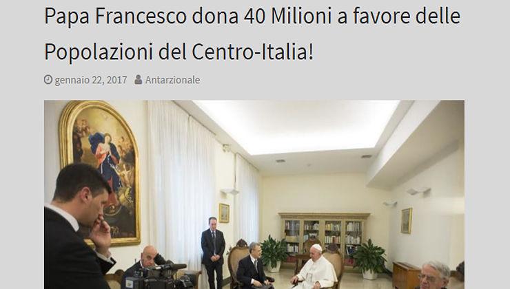 """Papa Francesco dona 40 milioni di euro"", la bufala diventa virale"