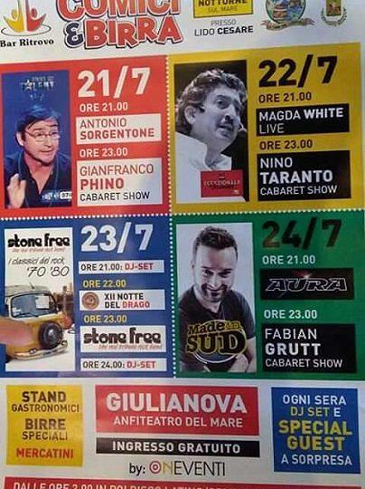 'Comici & Birra', quattro giorni di cabaret, musica e spettacoli   21-24 luglio  Giulianova
