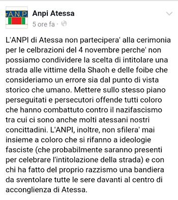 Atessa, Foza Nuova: 'L'Anpi torna ad offendere i martiri delle Foibe'