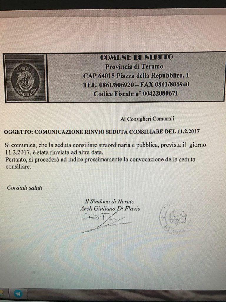 Nereto, consiglio rinviato dopo la diffida del M5S