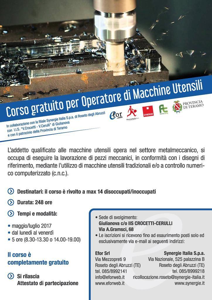 Corso professionale gratuito per operatori di macchine utensili | Giulianova