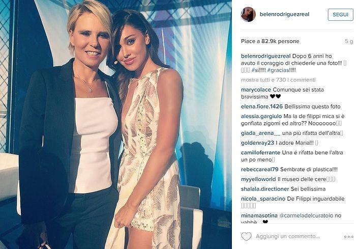Maria De Filippi con Belen Rodriguez su Instagram: zigomi rifatti? FOTO