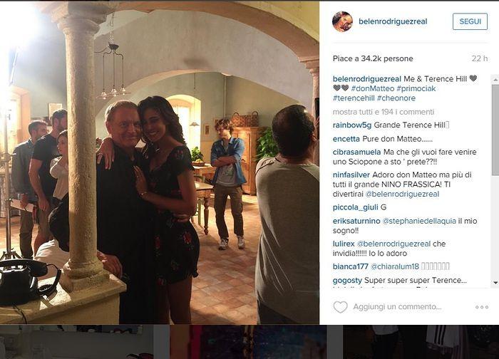 Belen Rodriguez con Terence Hill: sarà una escort in Don Matteo