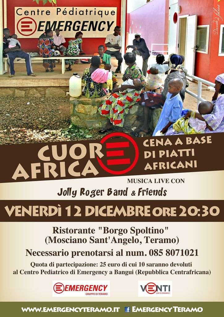 Mosciano Sant'Angelo, cena solidale per Emergency a base di piatti africani