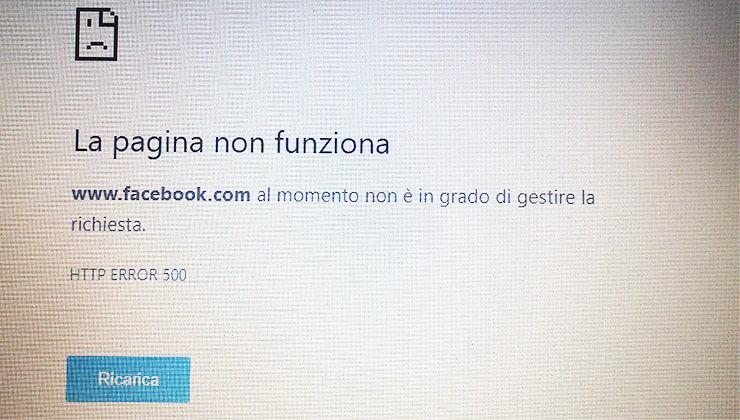 """Facebook """"down"""", impossibile accedere alle pagine"""