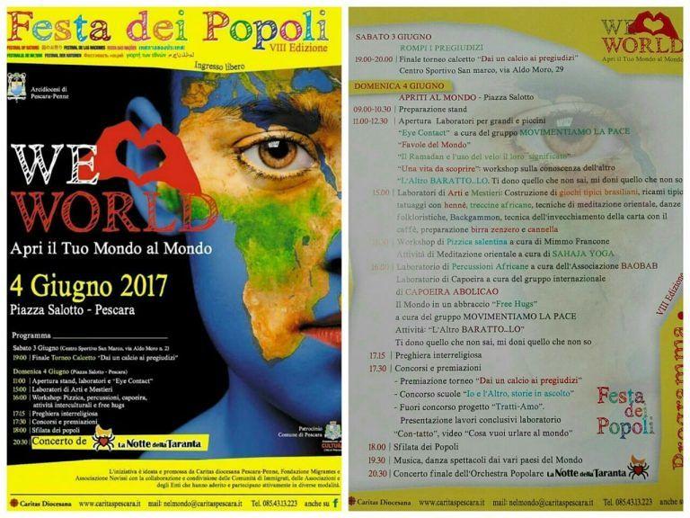 Pescara, al via la Festa dei popoli a piazza Salotto