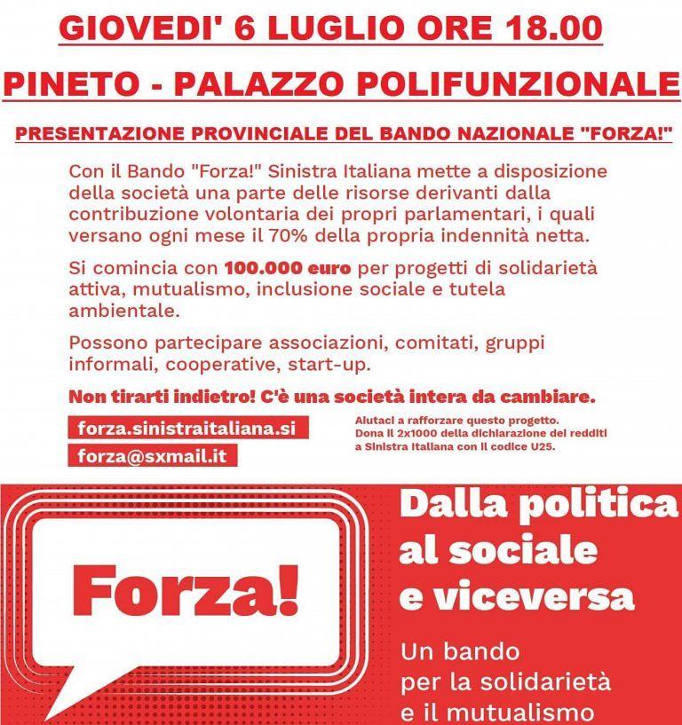 "Pineto, Sinistra Italiana presenta il bando ""Forza!"""