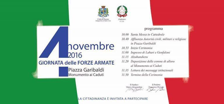 Pescara, al via la cerimonia per la Giornata dell'Unità nazionale e delle Forze armate