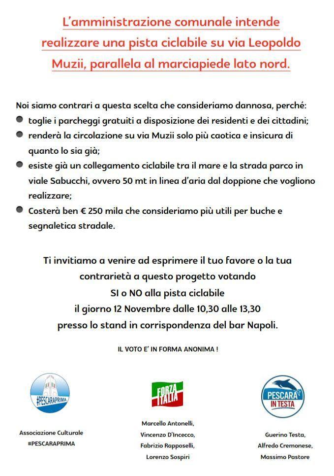 Pescara, pista ciclabile su via Muzii: il sondaggio di Forza Italia