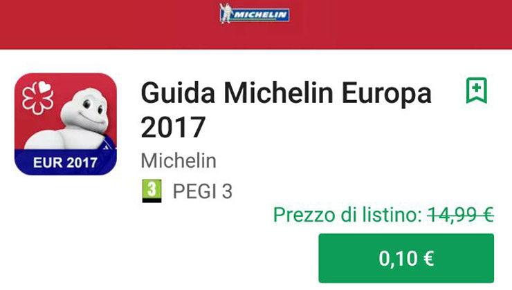 Guida Michelin 2017 in offerta a 10 centesimi sul Google Play Store
