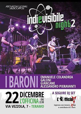 """Teramo, concerto de """"I Baroni"""" da Officine Indipendenti"""