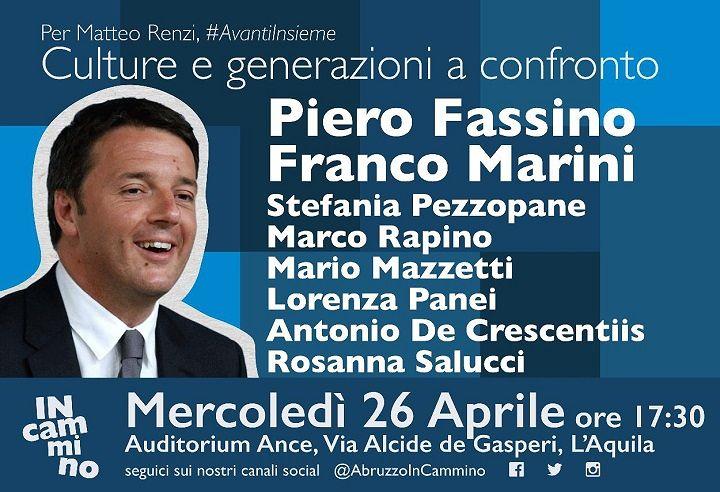 Primarie PD: Fassino e Marini a L'Aquila a sostegno di Renzi