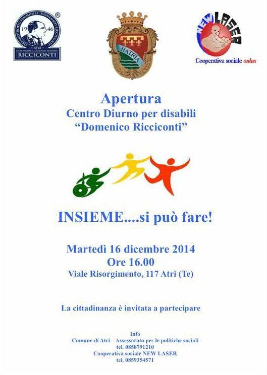 Festa di apertura del Centro Diurno per disabili ad Atri