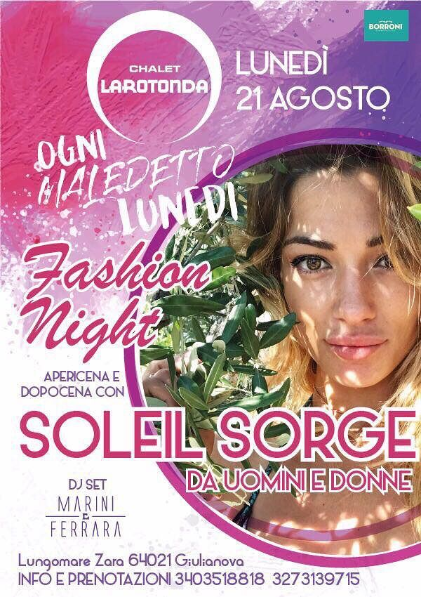 Chalet La Rotonda: nessuna serata il 14 bensì il 21 con Soleil Stasi Sorge  Giulianova
