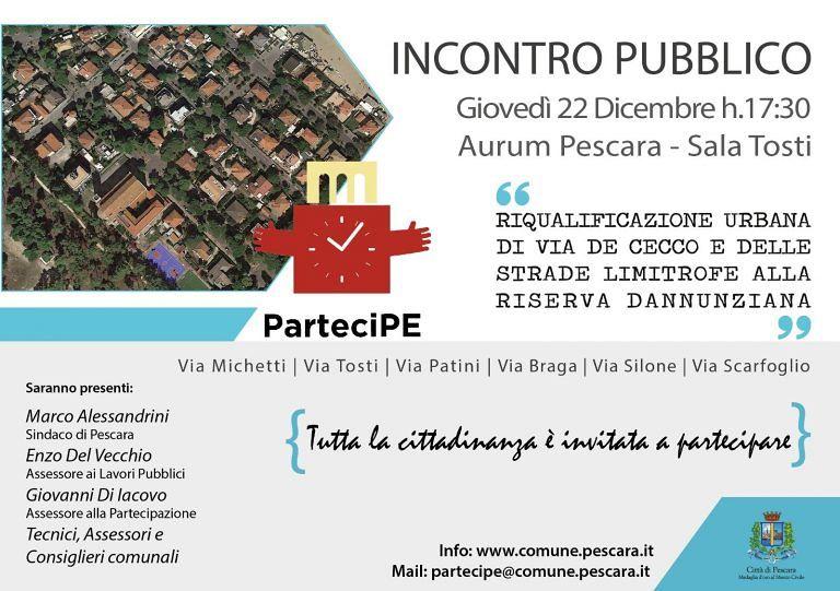 Pescara, interventi su via De Cecco: presentazione del progetto