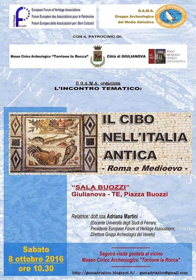 Giulianova, incontro sul cibo nell'Italia antica
