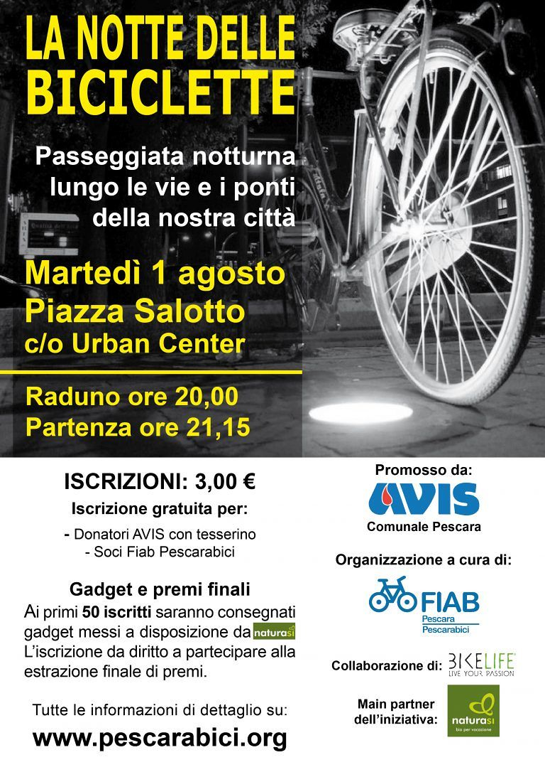 Pescara, torna la ciclopasseggiata notturna