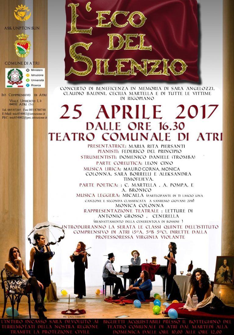Atri, nuovo spettacolo dedicato alle vittime di Rigopiano