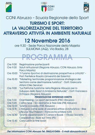 Sulmona, Turismo e Sport: il Coni promuove gli ambienti naturali