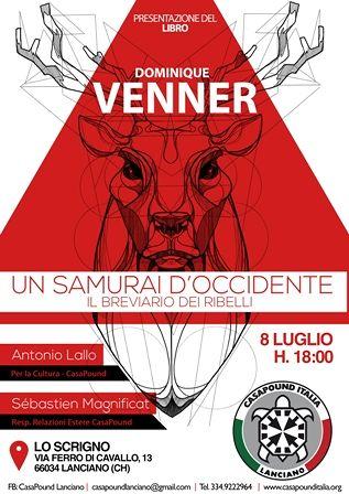 Lanciano: conferenza in ricordo di Dominique Venner, il 'Samurai d'Occidente' a CasaPound