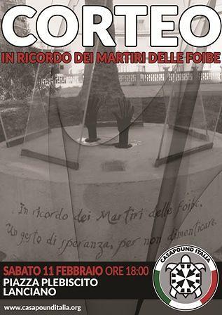 Lanciano, CasaPound organizza un corteo in ricordo dei martiri delle Foibe
