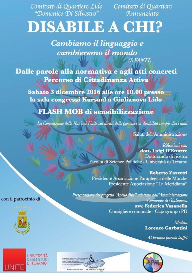 Giulianova, 'disabile a chi': flash mob di sensibilizzazione al Kursaal