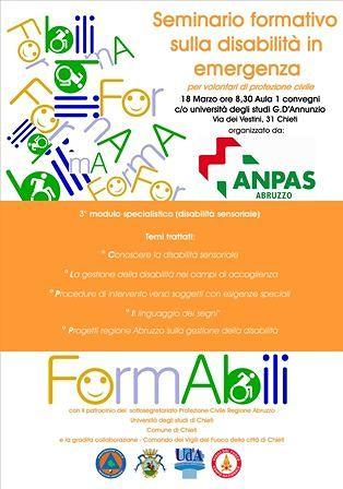 Chieti, Anpas Abruzzo: terzo appuntamento con 'FormAbili'