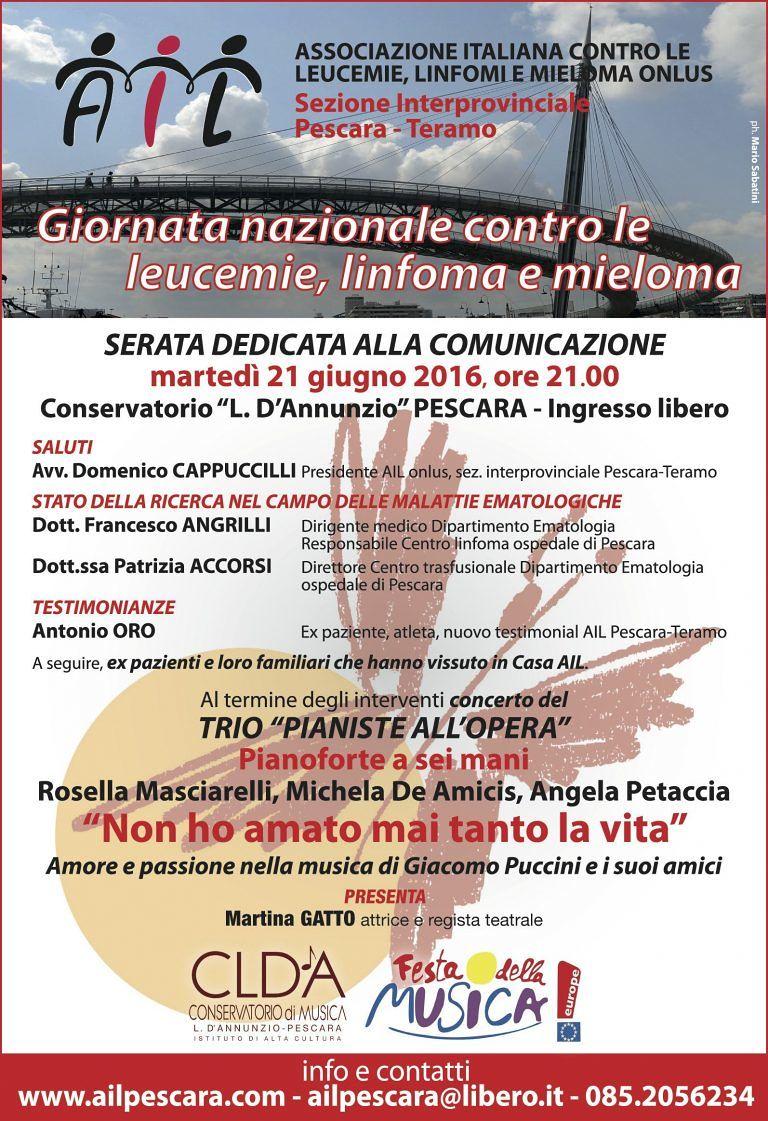 Pescara, serata Ail e concerto al conservatorio Luisa D'Annunzio