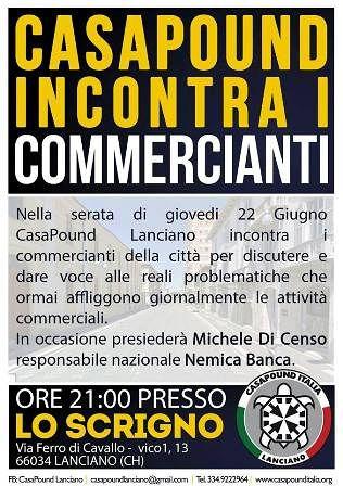 Lanciano, CasaPound Italia incontra i commercianti cittadini