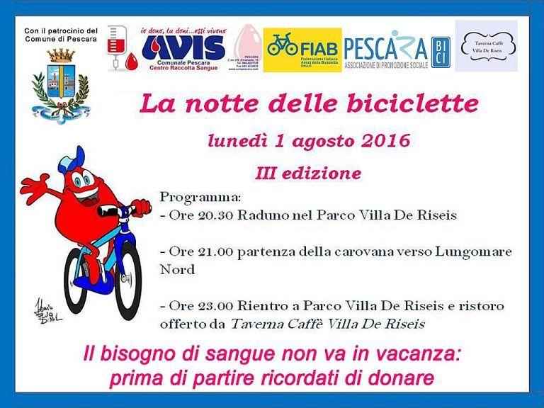 Pescara, torna la pedalata notturna con Fiab e Avis