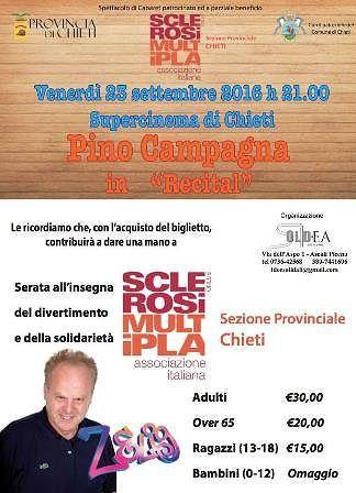 Pino Campagna in 'Recital' per l'Aism di Chieti