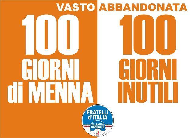 Vasto, 100 giorni di Menna: Fratelli d'Italia-An denuncia inconcludenza e continuità con Lapenna