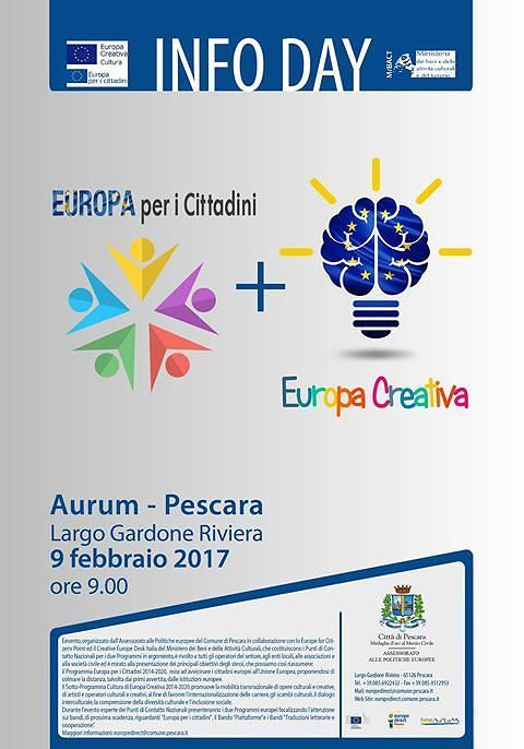 Pescara, bandi europei per i cittadini: l'Infoday all'Aurum