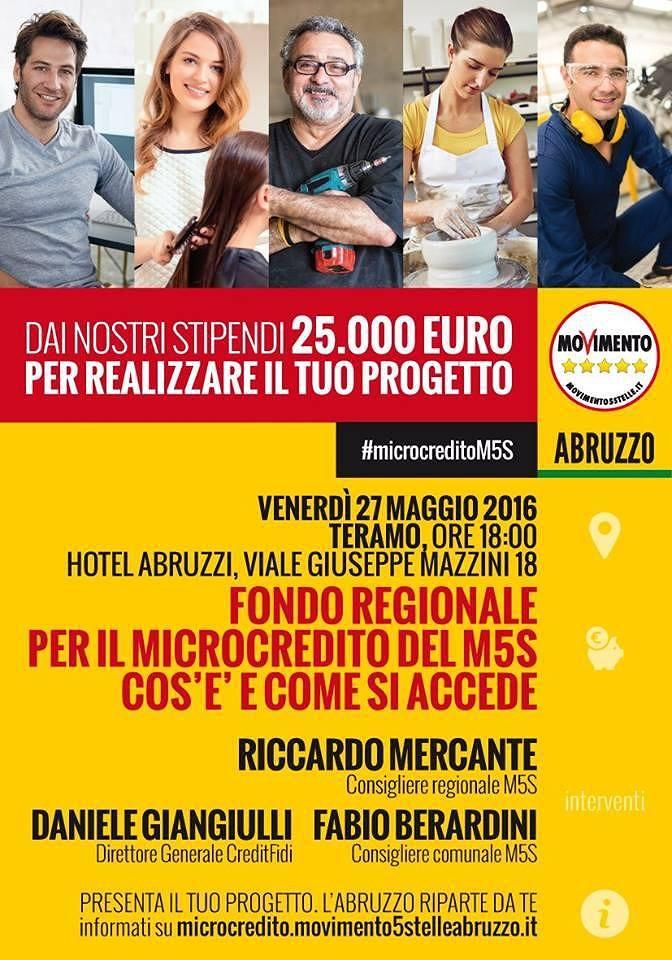Teramo, convegno sul Microcredito organizzato dal Movimento 5 Stelle