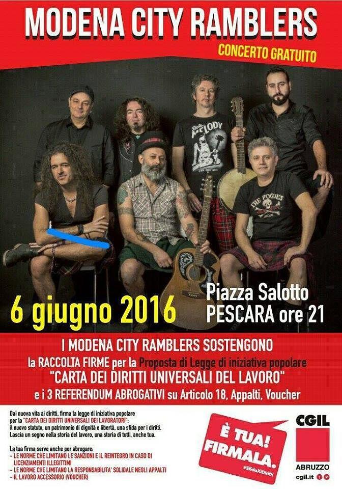 Pescara, i Modena City Ramblers a Piazza Salotto