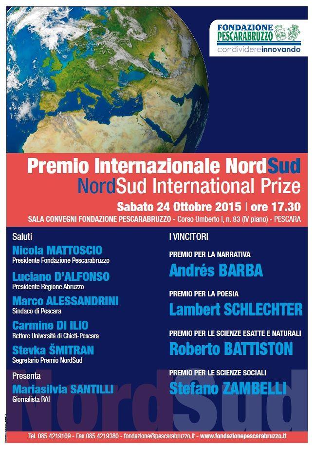 Pescara, i vincitori del Premio NordSud di letteratura e scienze