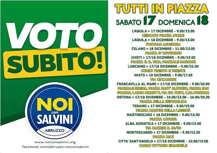 Noi con Salvini Abruzzo nelle piazze per chiedere nuove elezioni politiche